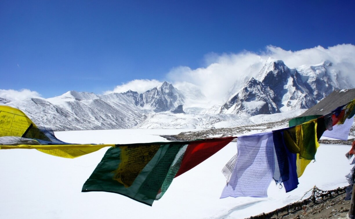Buddhist-Praying-Flag-Surrounding-Gurudongmar-Lake