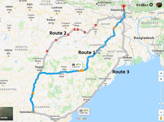 Hyderabad-to-Darjeeling-road