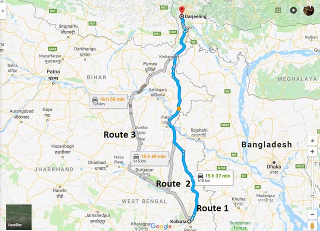 Kolkata-to-Darjeeling-road