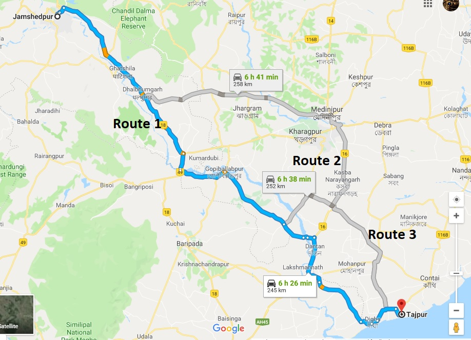 Jamshedpur to Tajpur: Different Ways to go Tajpur, the most famous hill station of West Bengal is approximately 250 km away from Jamshedpur, the most populous urban setup in the state of Jharkhand.There are several ways to reach from the banks of Subarnarekha to the sea beach, which are as follows: Jamshedpur to Tajpur: Through Road: If you want a personalised experience, or, have your own car and want to enjoy the thrill of the road trip, you may drive to Tajpur which takes around 7 hour to reach on a good traffic day. The roads comprise of NH18 and State highway 5. Route 1 passes through Kumardubi and Gopiballabhpur and takes around 6 and a half hour to cover 245 km. Route 2 branches out from Route 1 after Dhalbhumgarh, and passes by Kharagpur and Jhargram, which is 258 km and takes 6 hour 41 minutes. Route 3 connects route 1 and 2. It goes out from Route 1 at Kharikamathani, crosses Subarnarekha and joins with Route 2 before Belda to reach Tajpur at 6 hour 38 minutes (252 Km).