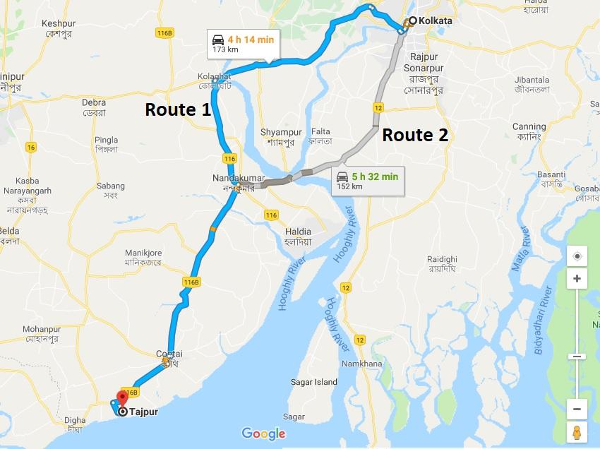 Kolkata-To-Tajpur-Road-Map