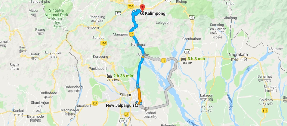 NJP-to-Kalimpong-Road-Map